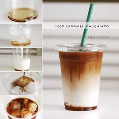 Caramel Macchiato: 1 teaspoon/tablespoon of vanilla syrup, 1 cup of ice, 1 cup of cold milk, 80ml shots of coffee, 1 teaspoon/tablespoon of caramel syrup