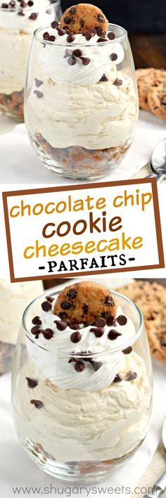 Fill a glass with this beautiful NO BAKE Chocolate Chip Cookie Cheesecake Parfai. Fill a glass with this beautiful NO BAKE Chocolate Chip Cookie Cheesecake Parfait! Chocolate Chip Cookie Cheesecake, Brownie Desserts, Mini Desserts, Easy Desserts, Chocolate Chip Cookies, Delicious Desserts, Dessert Recipes, Yummy Food, Chocolate Pudding