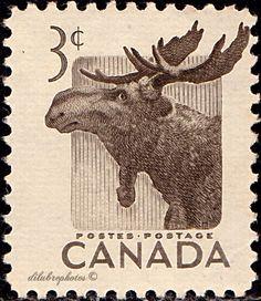 Canada. Moose. Natl. Wildlife Week. Scott 323 A138, Issued 1953 Apr. 1, 3c. /ldb.