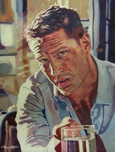 "Saatchi Art Artist Bec Asmar; Painting, ""Tom"" #art #tomhardy #becasmar #tom #hardy  #painting #artwork #oilpainting #popart #portrait #portraiture #color #colorful #colourful #colour #contrast #lighting #thomassaliot #saliot #celebrity"