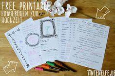 Blog Tintenelfe.de - Free Prinable Fragebögen für die Hochzeit - Gästebuch mal anders