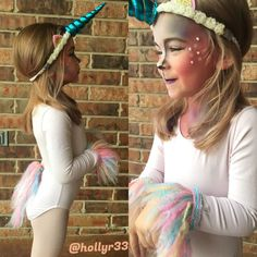 Toddler unicorn costume. Halloween costume for kids. Unicorn makeup.