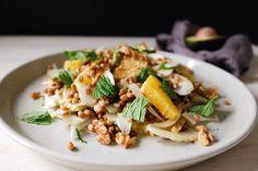 Fennel, lentil and orange salad with a tahini dressing Runner Beans, Orange Salad, Tahini Dressing, Rabbit Food, Good Enough To Eat, Side Salad, Fennel, Lentils, Pasta Salad