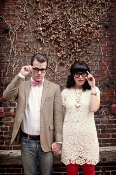So hipster. I feel that my engagement pictures will more than likely end up like this. Love the dress <3