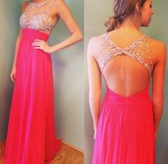 This is simply gorgeous!! Pink unique prom dress