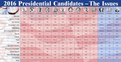 Where do the 2016 presidential candidates stand on the issues that are important to you? Here is a comparison chart of what each candidate believes so that you can decide who to vote for November 2016 in the presidential election.