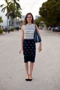 Miami Art Basel 2012 Street Style - Anouck Lepere mixes prints and a pencil skirt.