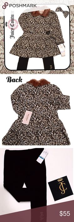 JUICY COUTURE Infant Girl's 2Pc Leopard Set 24 Mo Brand NWT JUICY COUTURE infant's 2-piece leopard set. Monogrammed tunic with monogrammed leggings, size 24 months. Juicy Couture Matching Sets