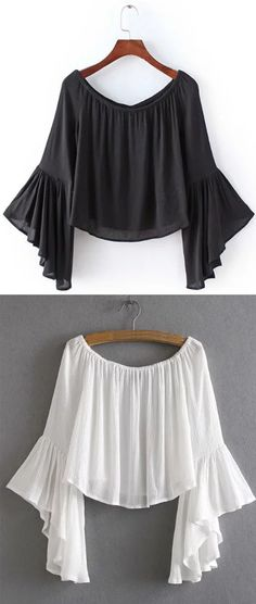 Shop Off-The-Shoulder Bell Sleeve Blouse - White at ROMWE, discover more fashion styles online. Boho Fashion, Fashion Outfits, Womens Fashion, Fashion Design, Bell Sleeve Blouse, Bell Sleeves, Mode Top, Western Wear, Blouse Designs