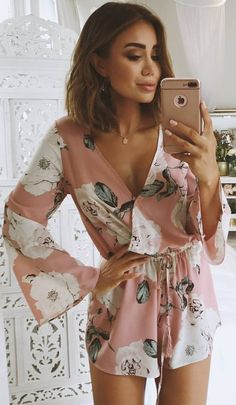 #summer #outfits  Pink Floral Wrap Romper