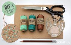DIY Fadengrafik Sterne / Stringart stars | Schere, Garn, Papier Winter Christmas, Christmas Time, Fun Crafts, Arts And Crafts, Waldorf Crafts, Star Diy, Diy Tassel, Do It Yourself Crafts, Crafty Craft