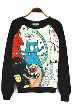 Cartoon Monster Graphic Sweatshirt OASAP.com