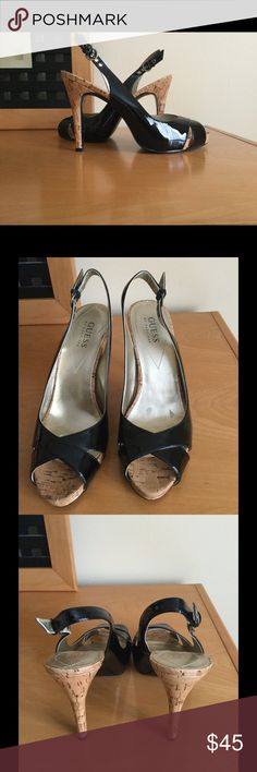 Guess by Marciano Sz 8 M sling back cork heel new New Guess by Marciano Sz 8 M black cork heel sling back heels .Its a little scratch on insole from storage , not effects a shoe , no box . Guess by Marciano Shoes Heels