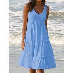 dress Womens Holiday Summer Solid Sleeveless Party Beach Dress Lace Loose Solid casual dress women 2018 – Top Of The World Casual Dresses For Women, Clothes For Women, Dress Casual, Casual Beach Dresses, Elegant Dresses, Formal Dress, Pretty Dresses, Casual Outfits, Stitching Dresses