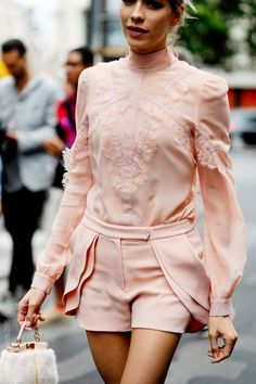 Elena Perminova on Rue Cambon for Elie Saab Haute , ruffled pink shorts romper , Couture, Paris