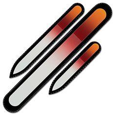 Genuine Czech Crystal Glass Nail File - Mont Bleu Premium Set of 3 Glass Nail Files in Velvet Pouch - Genuine Czech T...