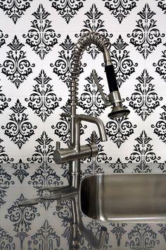 Pallade Damask Wallpaper - Designer Black  White Wall Coverings by Graham  Brown