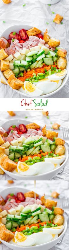 Chef Salad - a healthy and delicious salad that's perfect for lunch or dinner with a homemade dressing and the perfect meal for under 30 minutes.