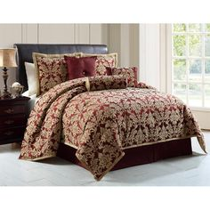 Wilshire is a jacquard 7-piece comforter set in red and gold colorway and comes in queen and king sizes. The polyester set includes one comforter, one bedskirt, two shams and three decorative pillows.
