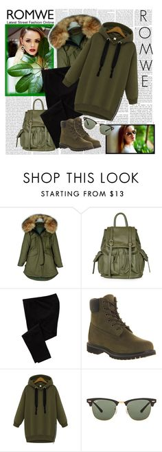"""ROMWE - Hooded-Zipper-Loose-Green-Sweatshirt"" by fashionaddict-il ❤ liked on Polyvore featuring Oris, Topshop, Old Navy, Timberland and Ray-Ban"