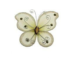 Organza Nylon Glitter Butterflies, 2-inch, 12-pack, Ivory