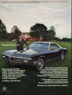 """1968 BUICK RIVIERA vintage magazine advertisement """"They didn't louse it up"""" ~ (model year 1968) ~ They didn't louse it up.  -  Buick started off with a classic design and they stayed with it -- for good reason.  -  Joe Meyer, Stockbroker ~"""