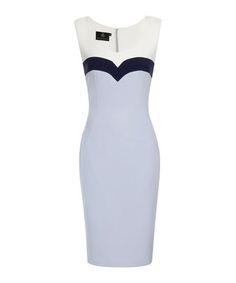 Baby blue, navy & ivory pencil dress Sale - Hybrid Fashion Sale