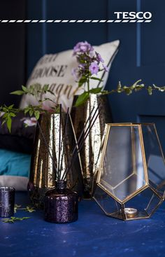 From a gold-finished Mercury vase, £12 to a gold-plated ornamental tea light holder, £14, our stunning yet affordable accessories are perfect for adding a touch of effortless glamour to your living space this Autumn.