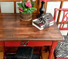 Road Rescue Part ~ Desk w General Finishes Van Dyke Brown Glaze Effects - Salvaged Inspirations Furniture Update, Furniture Repair, Paint Furniture, Furniture Projects, Furniture Makeover, Dresser Makeovers, Furniture Design, Removing Veneer, Java Gel Stains