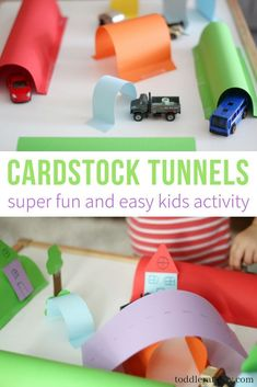 Cardstock Tunnels – Toddler at Play – Crafts & Activities Super easy and fun activity you can make for your toddlers today! All you need is some basic art supplies and a few of your childs' favorite toys cars! Transportation Activities, Eyfs Activities, Toddler Learning Activities, Craft Activities For Kids, Activities For 2 Year Olds, Science Activities, Toddler Art, Toddler Crafts, Crafts For Kids