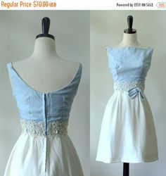 Vintage 1960s Dress Blue Bridesmaid Dress by SassySisterVintage