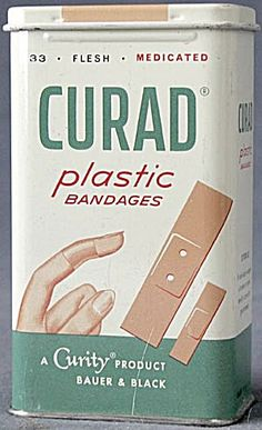 Vintage Curad Plastic Bandages Tin. Click on the image for more information.