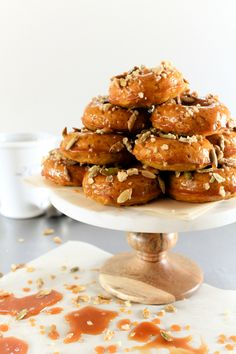 Pumpkin Donuts with Bourbon Caramel Glaze
