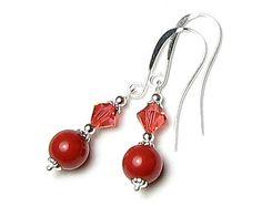 NOUVELLE couleur de Pantone MARSALA de l'année 2015 Swarovski Crystal & argent perle perles Boucles d'oreilles, Padparadscha, brique rouge bijoux, cadeau pour femmes