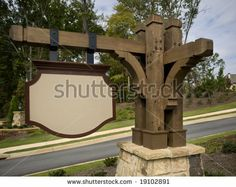 Ornate Timber Blank Subdivision Entrance Sign by Anthony Berenyi, via ShutterStock