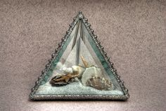 Stained glass bevelled pyramid beachscape microcosm with shells, starfish, coral and decorative solder finish