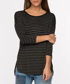 Another great find on #zulily! Black & Charcoal Stripe Crewneck Tee #zulilyfinds