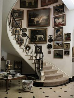 The staircase at Brooke Astor& Westchester estate--love the antique dog paintings! The staircase at Brooke Astors Westchester estate--love the antique dog paintings! Decor, House Design, Bold Decor, Interior Design, Home, House, Stairways, Interior, Stairs