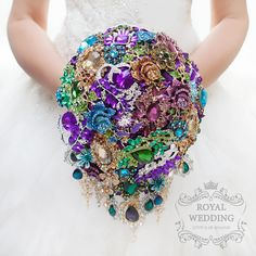 Brooch Bouquet Cascading Wedding Bouquet Peacock Bouquet Turquoise Bouquet Peacock Wedding Bridal Bouquet Custom Bouquet Bridesmaids Bouquet by RoyalWeddingDecore on Etsy