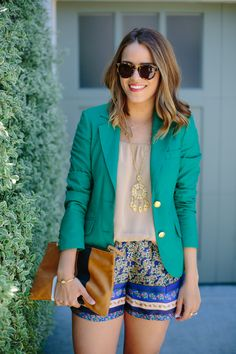 Summertime fashion! Gorgeous!! (Zara Top (old), ASOS Shorts, Two Penny Blue Blazer c/o, Sweet & Spark Necklace, Clare Vivier Clutch, Lookmatic Sunglasses c/o) ::M::