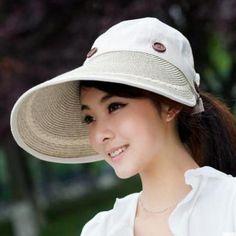270ffbc5 COKK Hats Women Wide Large Brim Floppy Beach Sun Straw Button Summer H