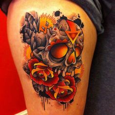 New school skull and roses