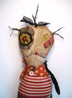 monster jane hand made doll by Junker Jane twisted but sweet Zombie Dolls, Voodoo Dolls, Ugly Dolls, Creepy Dolls, Textiles, Fabric Dolls, Rag Dolls, Monster Dolls, Soft Dolls