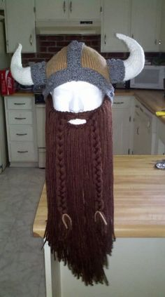 Viking hat with beard. I need to figure out how to make this.