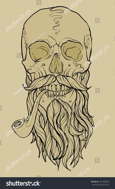 skull with beard and pipe