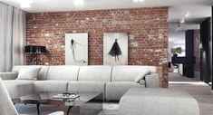 A casual living room in white with a fantastic exposed brick wall behind the sofa.  How do you feel about interior brick? Designed by http://www.superpozycja.com/
