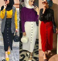 Hijab fashion looks – Just Trendy Girls - Fashion Modern Hijab Fashion, Street Hijab Fashion, Hijab Fashion Inspiration, Muslim Fashion, Fashion Wear, Skirt Fashion, Fashion Outfits, Style Fashion, Hijab Trends