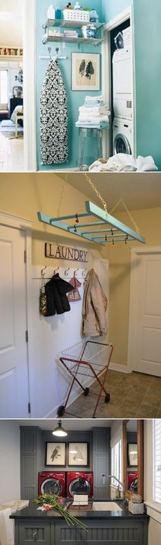 Use an old ladder as a drying rack for clean clothes, great idea!