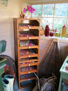 Flower drying rack (Sharon Lovejoy's potting shed) I need this for my herbs! Herb Drying Racks, Drying Herbs, Healing Herbs, Medicinal Plants, Kraut, Herbal Medicine, Sustainable Living, Dream Garden, Dried Flowers