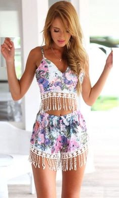 summer style / floral crop top + romper